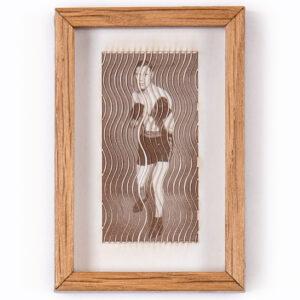 A miniature unique wooden sculpture by Lesley Hilling