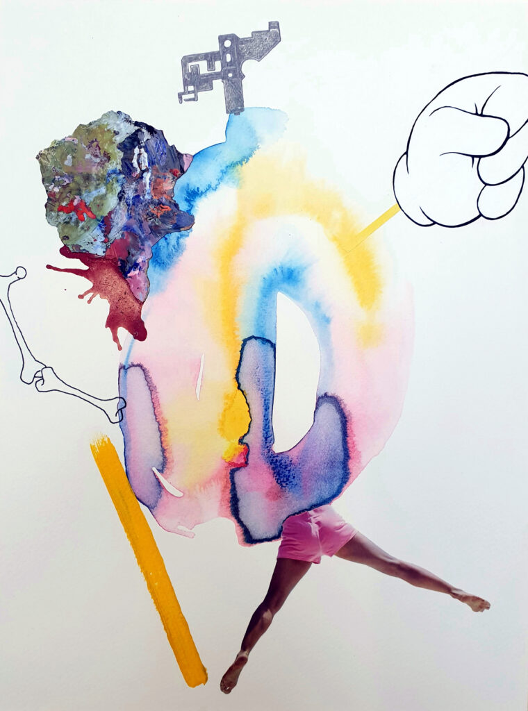 Watercolour and collage by Duncan McAfee