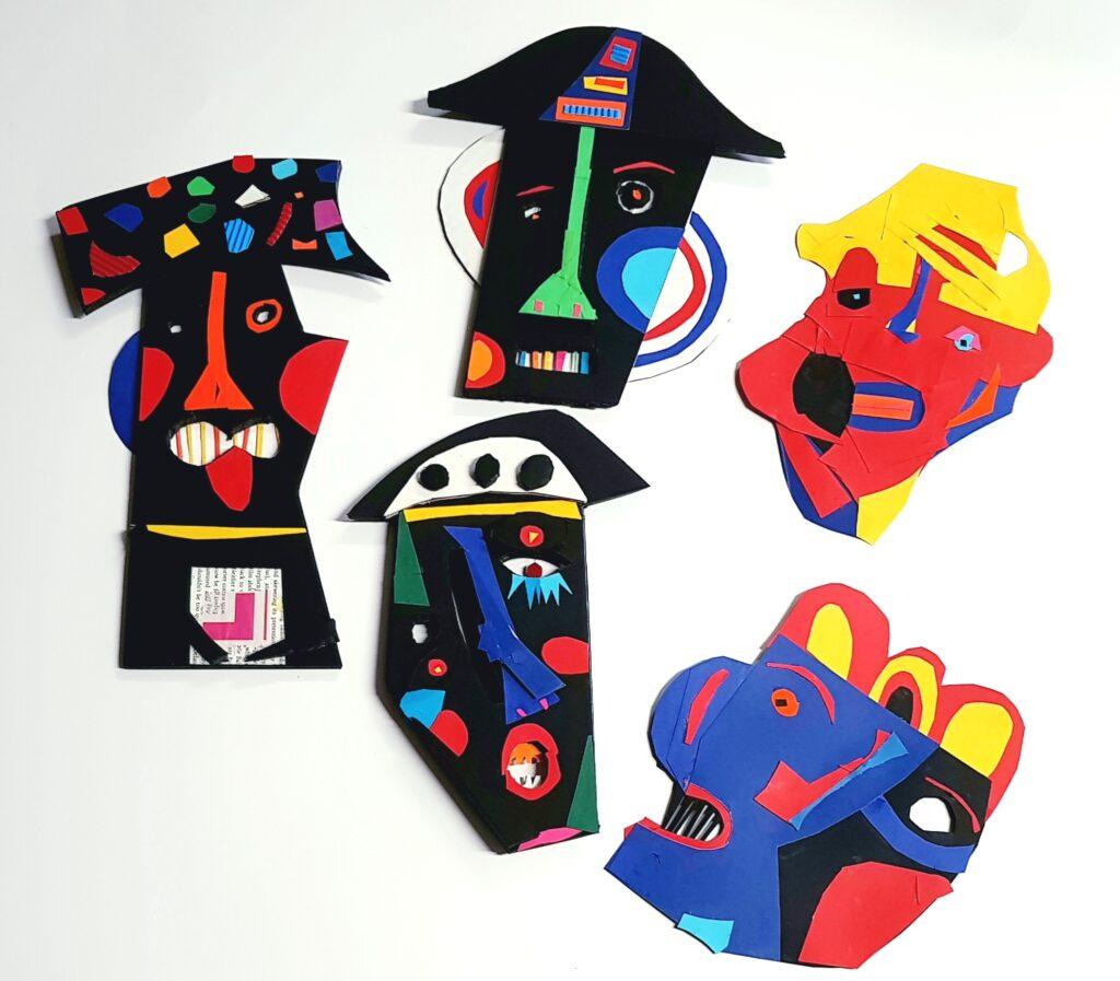 Shaun Caton artist, painter & collagist. Cardboard totems